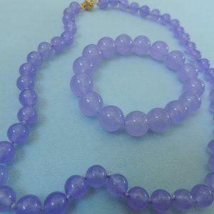 Genuine Lavender Jade Necklace and Bracelet